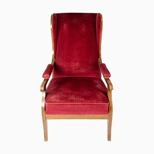 Red Velvet and Mahogany Armchair by Frits Henningsen