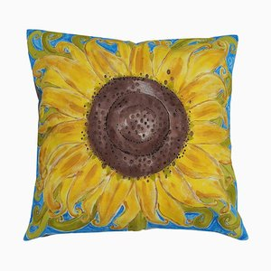 Hand-Painted Sunflower Throw Cushion
