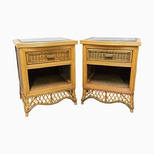 Rattan Nightstands with Mirrored Tops, Set of 2