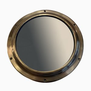 Vintage Solid Brass Wall Mounted Mirrored Porthole, 1960s