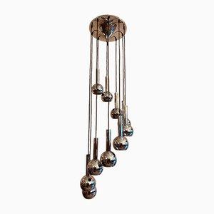 Kaskadierende Lampe mit 10 Chrom Schirmen