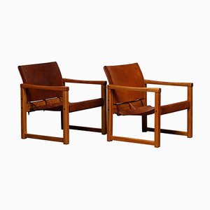 Cognac Leather Model Diana Safari Armchairs by Karin Mobring for Ikea, Set of 2