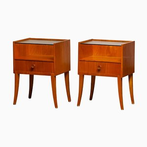 Nightstands in Elm with Glass Tops, 1950s, Set of 2