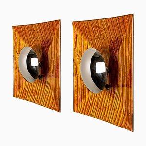 Applique Space Age in metallo e vetro arancione, anni '70, set di 2