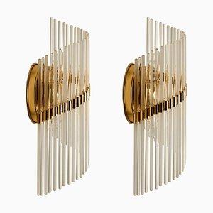 Große Moderne Glasstab Wandlampen von Gaetano Sciolari für Lightolier, 1970er, 2er Set