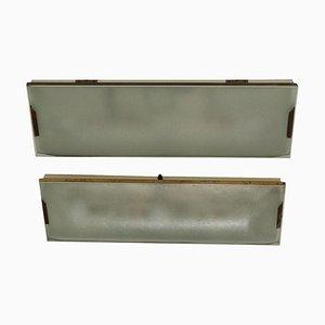 Stilnovo Metall Lampen aus Messing & Glas, Italien, 1960er, 2er Set