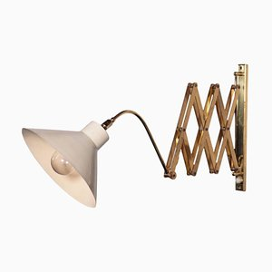 Enamelled Aluminum and Brass Lamp, Italy, 1950s