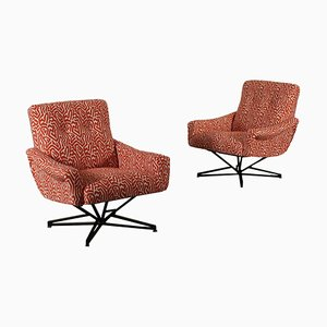 Fabric & Enamelled Metal Swivel Chairs, 1960s, Set of 2