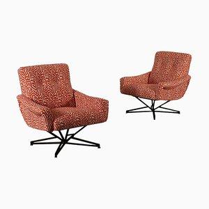Sedie girevoli in metallo e metallo, anni '60, set di 2