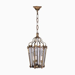 Early 20th-Century Italian Glass and Gilt Bronze Lantern