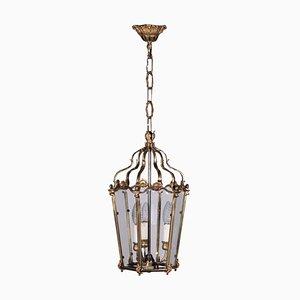 Lanterna in vetro e bronzo dorato, Italia, inizio XX secolo