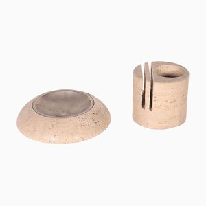 Ashtray and Card Holder in Travertine