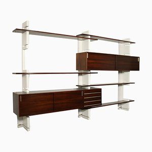 Bookcase in Veneered Wood, Brass & Lacquered Wood, 1960s