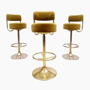 Mid-Century Swedish Vintage Brass Bar Stools by Borje Johanson, Set of 3