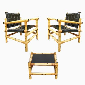 Schwedische Mid-Century Safari Armlehnstühle & Couchtisch aus Bambus von Ikea