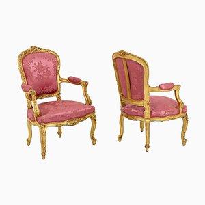 Louis XV Stil Cabriolet Sessel aus Vergoldetem Holz, 1880er, 2er Set