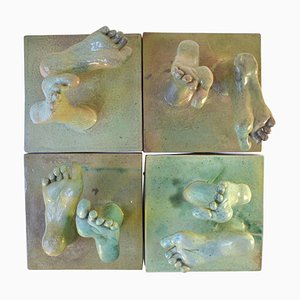 Ceramic Relief with Tapestry of Green Glazed Feet