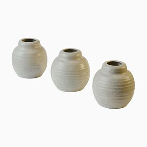 Oat White Ceramic Studio Pottery Vases, Set of 3