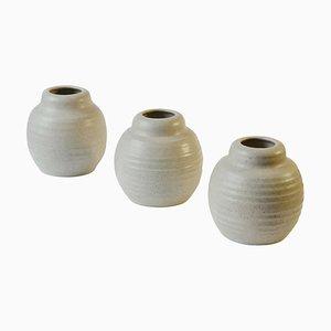 Weiße Keramikvasen aus Tonkeramik in Oat, 3er Set