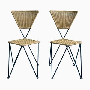 Wicker and Metal Garden Chairs, 1950s, Set of 2