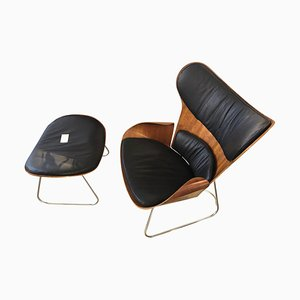 Saga Cherrywood Shell Black Leather Armchair and Footstool by Gioia Marcovicz, Set of 2