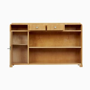 20th-Century Scandinavian Elm Low Bookcase