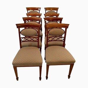 Esszimmerstühle aus Mahagoni mit Intarsien, 19. Jh., 8er Set
