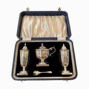 Antique George V Cased Sterling Silver Condiment Set, Set of 4
