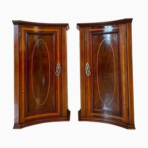 Antique Mahogany Inlaid Shaped Nightstands, Set of 2