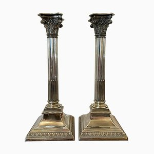 Antique Silver Plated Corinthian Candlesticks, Set of 2