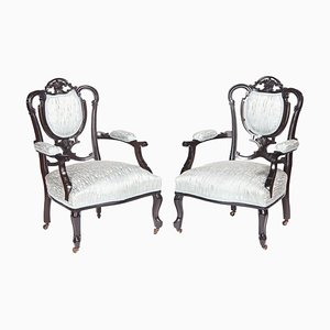 Antique Carved Black Lacquered Library Chairs, Set of 2
