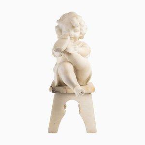 Escultura de niña pequeña de alabastro