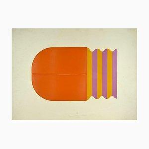 Shu Takahashi, Curiosity en naranja, técnica mixta, 1973