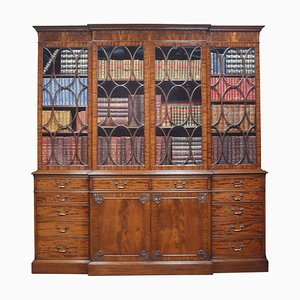 Chippendale Revival Mahogany Four-Door Breakfront Bookcase