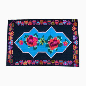Small Romanian Hand-Woven Carpet with Floral Background