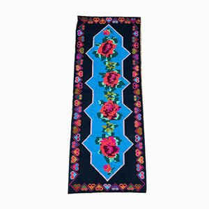Romanian Hand-Woven Carpet with Blue Background