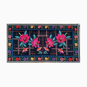 Romanian Hand-Woven Carpet with Floral Background