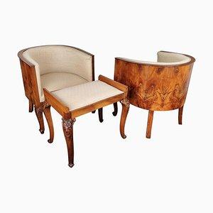 Mid-Century Art Deco Italian Briar Walnut Wood Armchairs & Stools
