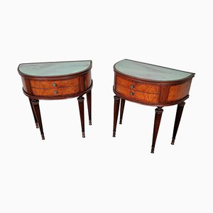 Mid-Century Italian Art Deco Demi-Lune Nightstands with Glass Tops, Set of 2