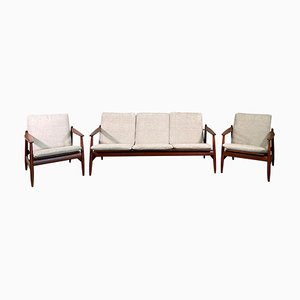 Sofa and Armchairs by Hans Olsen for Frem Røjle, Set of 3