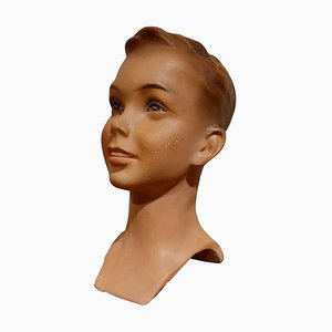 Vintage French Plaster Child's Mannequin Head