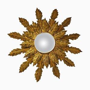 Specchio vintage a forma di sole in metallo dorato, anni '60