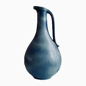 Blue Vase with Handle by Gunnar Nylund