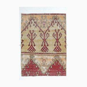 Orientalischer Mid-Century Teppich aus handbemaltem türkisblauem Oushak