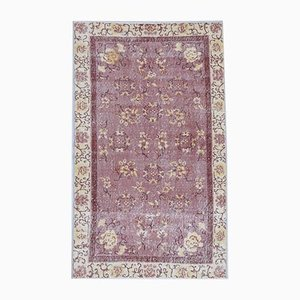 4x7 Vintage Turkish Oushak Handmade Wool Floral Carpet