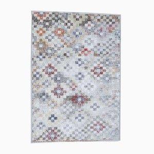 3x5 Türkischer Vintage Oushak Handgeknüpfter Teppich aus Wolle