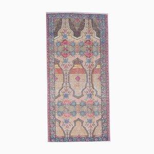 3x6 Türkischer Vintage Oushak Handgewebter Floraler Floraler Teppich mit Rosenmuster