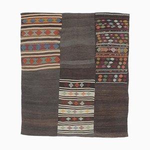 7x8 Vintage Turkish Handmade Black Wool Kilim Area Rug