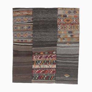 6x7 Vintage Turkish Oushak Handmade Black Wool Kilim Area Rug