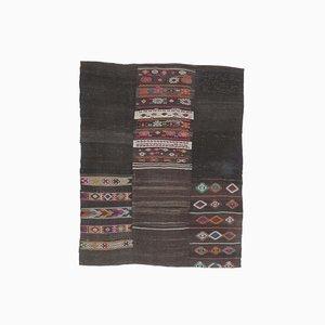 6x8 Vintage Turkish Oushak Handmade Black Wool Kilim Area Rug